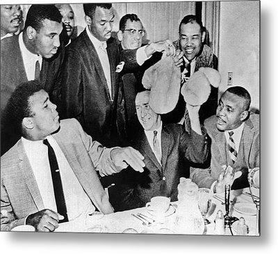 Cassius Clay Face Sonny  Liston Metal Print by Underwood Archives