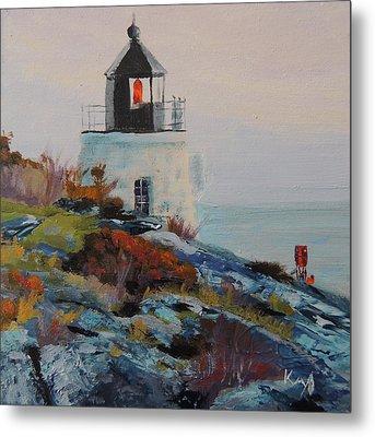 Castle Hill Lighthouse Newport Ri Metal Print by Patty Kay Hall