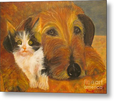 Cat And Dog Original Oil Painting  Metal Print by Anthony Morretta