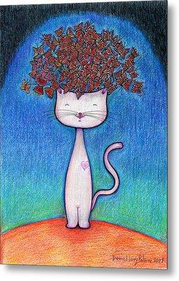 Cat And Monarcas Metal Print by Daniel Levy policar