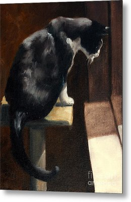 Cat At A Window With A View Metal Print by Lisa Phillips Owens
