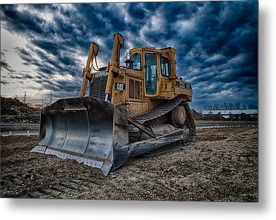 Cat Bulldozer Metal Print by Mike Burgquist