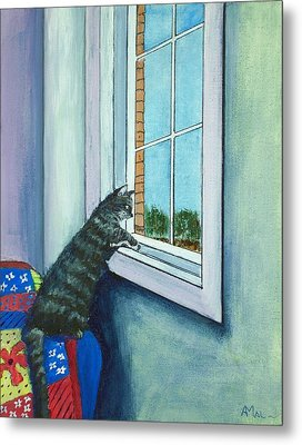 Cat By The Window Metal Print by Anastasiya Malakhova