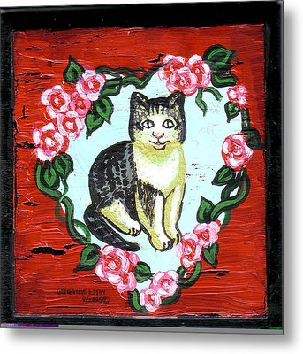 Cat In Heart Wreath 1 Metal Print by Genevieve Esson