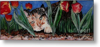 Cat In The Grass Metal Print by Cathy Weaver