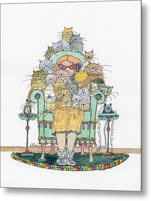Cat Lady - In Chair Metal Print by Mag Pringle Gire