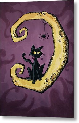 Cat On The Moon Metal Print by Sara Coolidge
