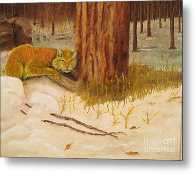Cat Prey On Bird Oiginal Oil Painting Metal Print by Anthony Morretta