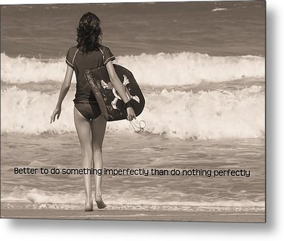 Catch A Wave Quote Metal Print by JAMART Photography