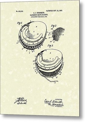 Catcher's Glove 1905 Patent Art Metal Print by Prior Art Design