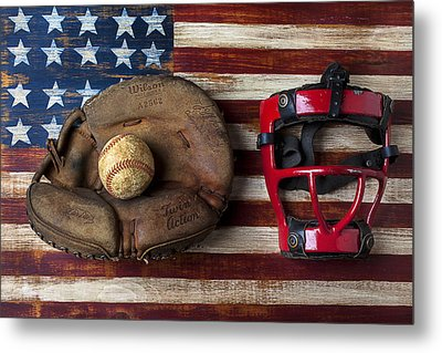 Catchers Glove On American Flag Metal Print by Garry Gay
