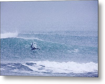 Catching A Wave In A Blizzard Metal Print by Tim Grams