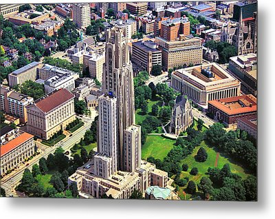 Cathedral Of Learning Aerial Metal Print by Mattucci Photography
