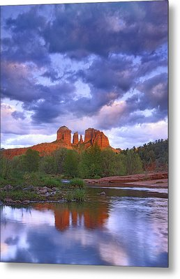 Cathedral Rock And Oak Creek At Red Metal Print by Tim Fitzharris
