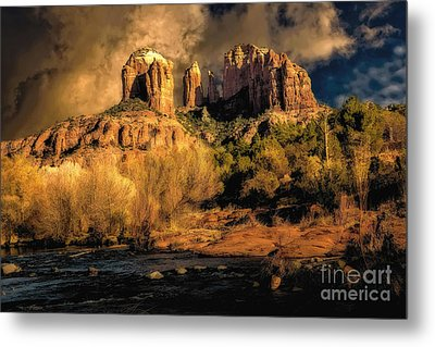 Cathedral Rock Before The Rains Came Metal Print by Jon Burch Photography