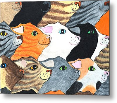 Cat's On Parade Metal Print by Jane Loveall