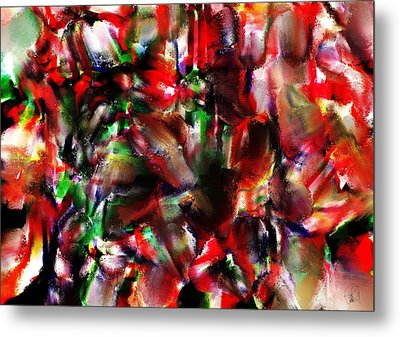 Caught In The Crowd Two Water Color And Pastels Wash Metal Print by Sir Josef Social Critic - ART
