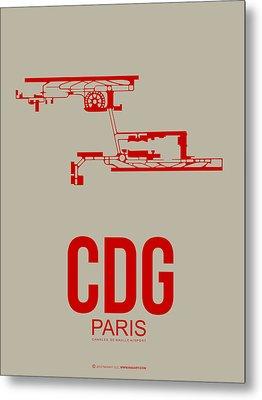 Cdg Paris Airport Poster 2 Metal Print by Naxart Studio