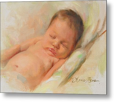 Cece At 2 Months Old Metal Print by Anna Rose Bain