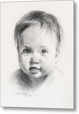Cece At 6 Months Old Metal Print by Anna Rose Bain