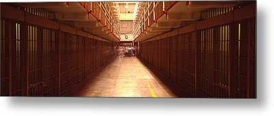 Cell Block In A Prison, Alcatraz Metal Print by Panoramic Images