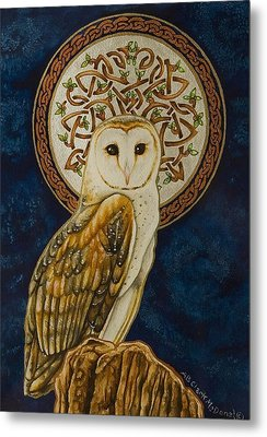 Celtic Barn Owl Metal Print by Beth Clark-McDonal