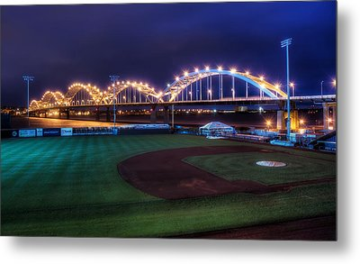 Centennial Bridge And Modern Woodmen Park Metal Print by Scott Norris