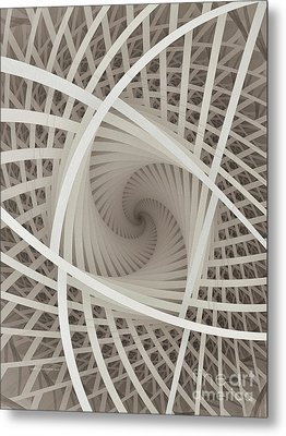Centered White Spiral-fractal Art Metal Print by Karin Kuhlmann