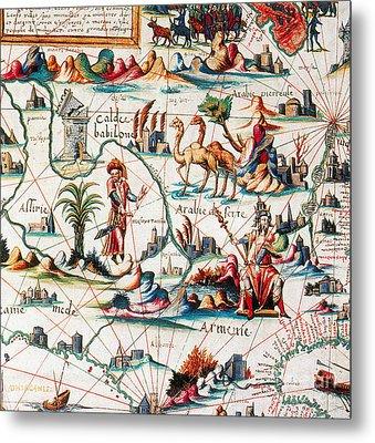 Central Asia Pierre Descelierss Map Metal Print by Photo Researchers