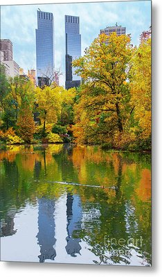 Central Park Pond Autumn Reflections Metal Print by Regina Geoghan
