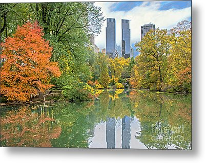 Central Park Pond In Autumn Metal Print by Regina Geoghan