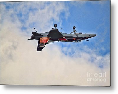 Cf18 Hornet Upside Down Fly By  Metal Print by Cathy  Beharriell