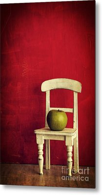 Chair Apple Red Still Life Metal Print by Edward Fielding