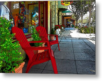 Chairs On A Sidewalk Metal Print by James Eddy