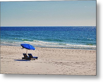 Chairs On The Beach With Umbrella Metal Print by Michael Thomas