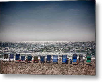 Chairs Watching The Sunset Metal Print by Peter Tellone