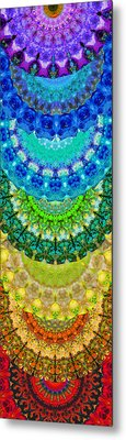 Chakra Mandala Healing Art By Sharon Cummings Metal Print by Sharon Cummings