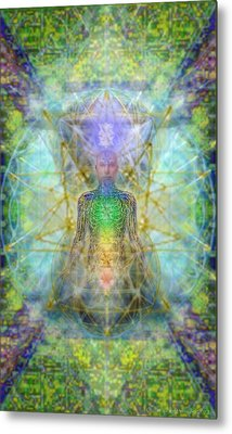 Chakra Tree Anatomy With Mercaba In Chalice Garden Metal Print by Christopher Pringer
