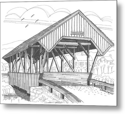 Chamberin Mill Covered Bridge Metal Print by Richard Wambach