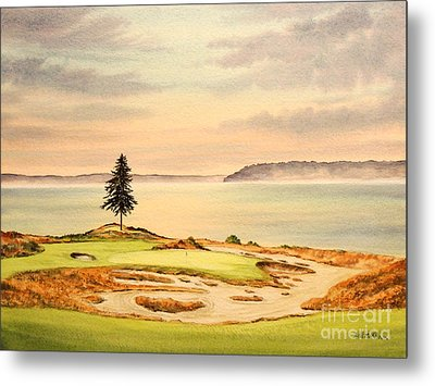 Chambers Bay Golf Course Hole 15 Metal Print by Bill Holkham