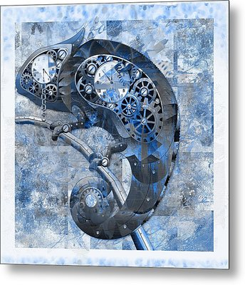 Chameleon - Blue 01b02 Metal Print by Variance Collections