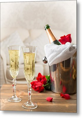 Champagne And Ice Bucket Metal Print by Amanda Elwell