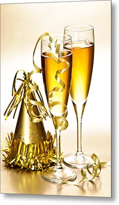 Champagne And New Years Party Decorations Metal Print by Elena Elisseeva