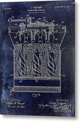 Champagne Bottle Freezer Patent 1902 Blue Metal Print by Jon Neidert