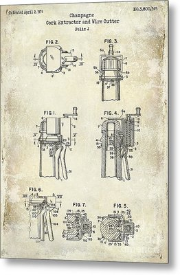 Champagne  Cork Extractor And Wire Cutter Patent Drawing Metal Print by Jon Neidert