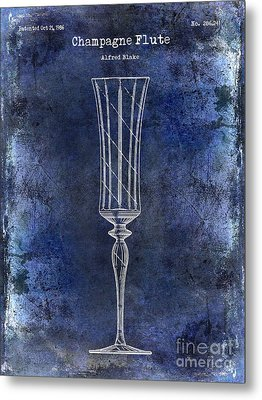 Champagne Flute Patent Drawing Blue 2 Metal Print by Jon Neidert