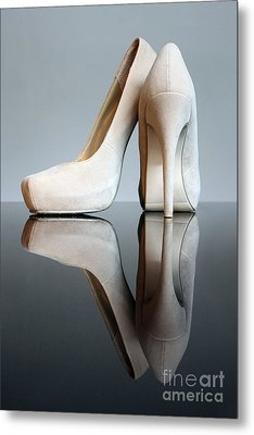 Champagne Stiletto Shoes Metal Print by Terri Waters