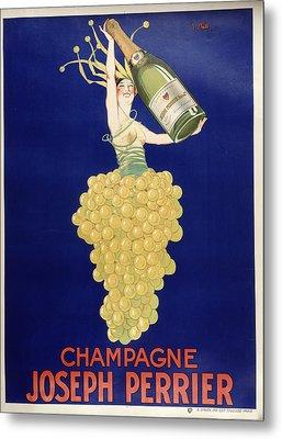 Champagne Metal Print by Vintage Images