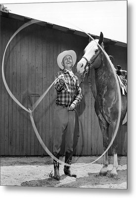 Champion Rope Spinner Metal Print by Underwood Archives