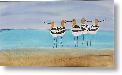 Chance Encounter At The Beach Metal Print by Carolyn Doe